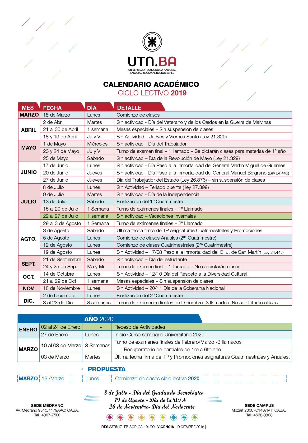 Calendario Agosto 2020 Argentina.Calendario Academico Utn Ba
